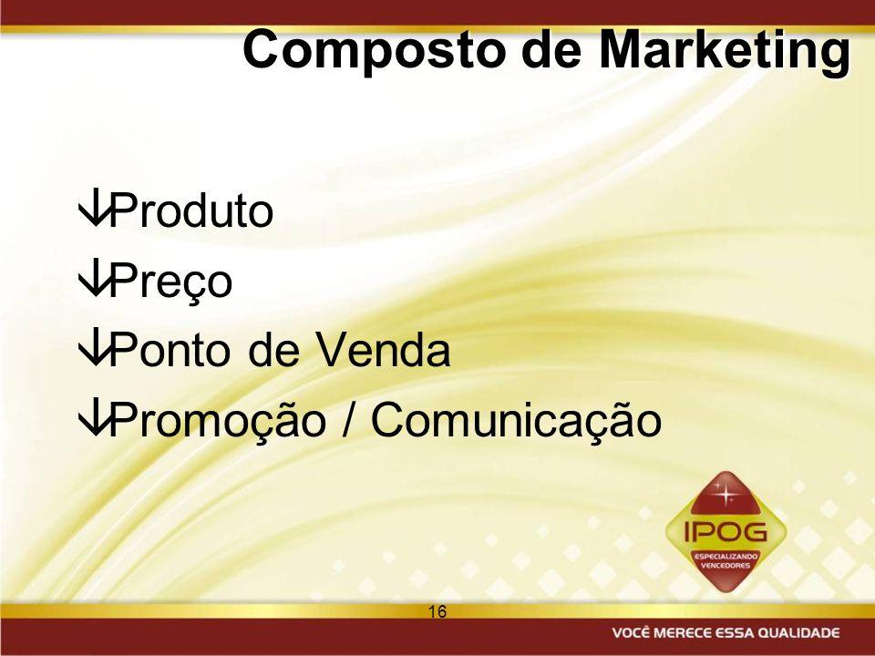 16 Composto de Marketing âProduto âPreço âPonto de Venda âPromoção / Comunicação