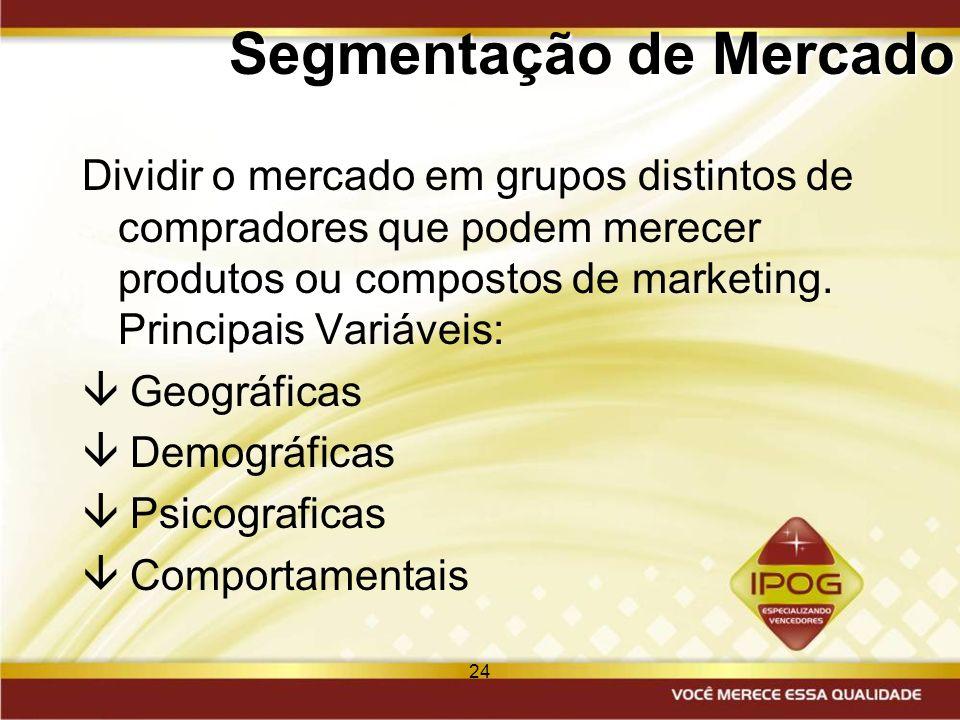 24 Segmentação de Mercado Dividir o mercado em grupos distintos de compradores que podem merecer produtos ou compostos de marketing. Principais Variáv