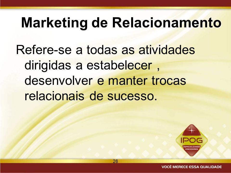 26 Marketing de Relacionamento Refere-se a todas as atividades dirigidas a estabelecer, desenvolver e manter trocas relacionais de sucesso.