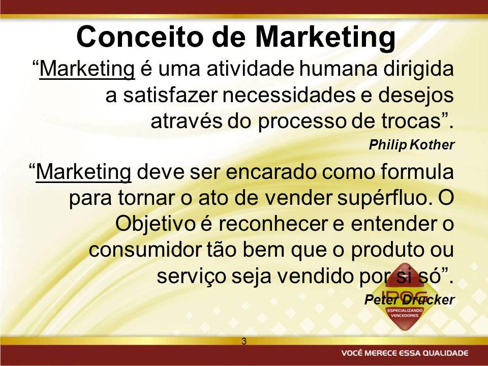 3 Conceito de Marketing Marketing é uma atividade humana dirigida a satisfazer necessidades e desejos através do processo de trocas. Philip Kother Mar