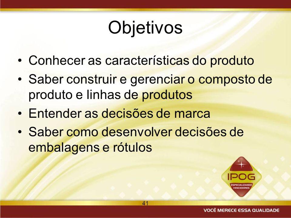 41 Objetivos Conhecer as características do produto Saber construir e gerenciar o composto de produto e linhas de produtos Entender as decisões de mar
