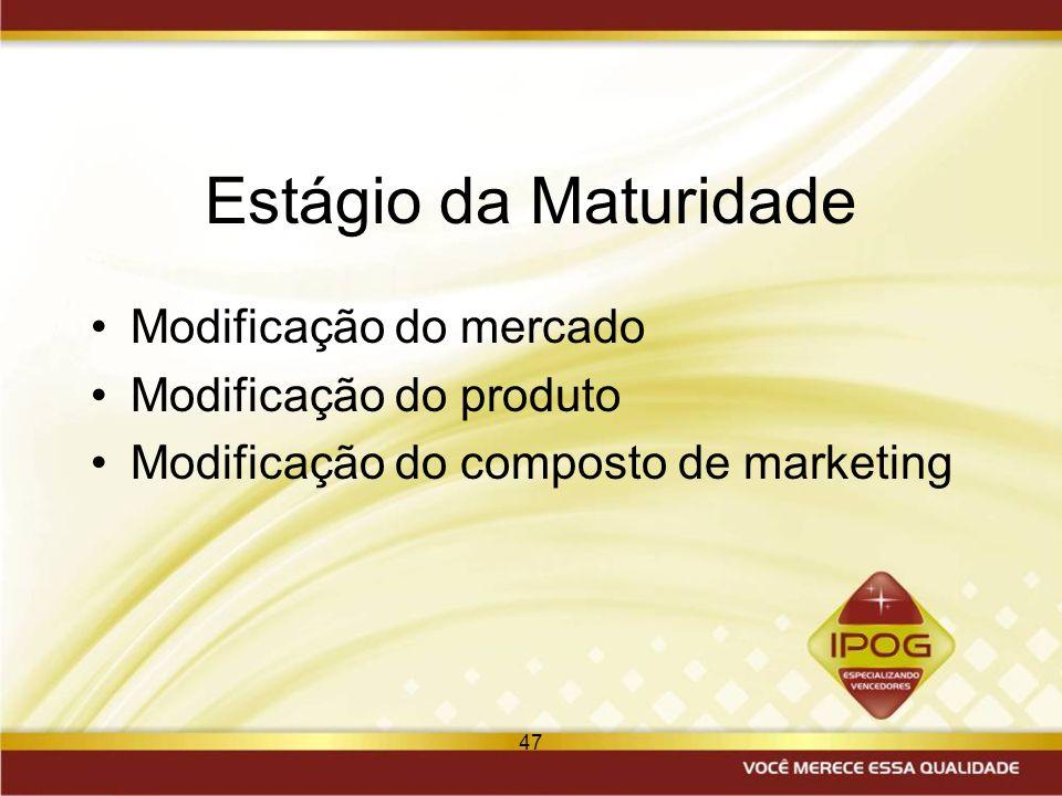47 Estágio da Maturidade Modificação do mercado Modificação do produto Modificação do composto de marketing