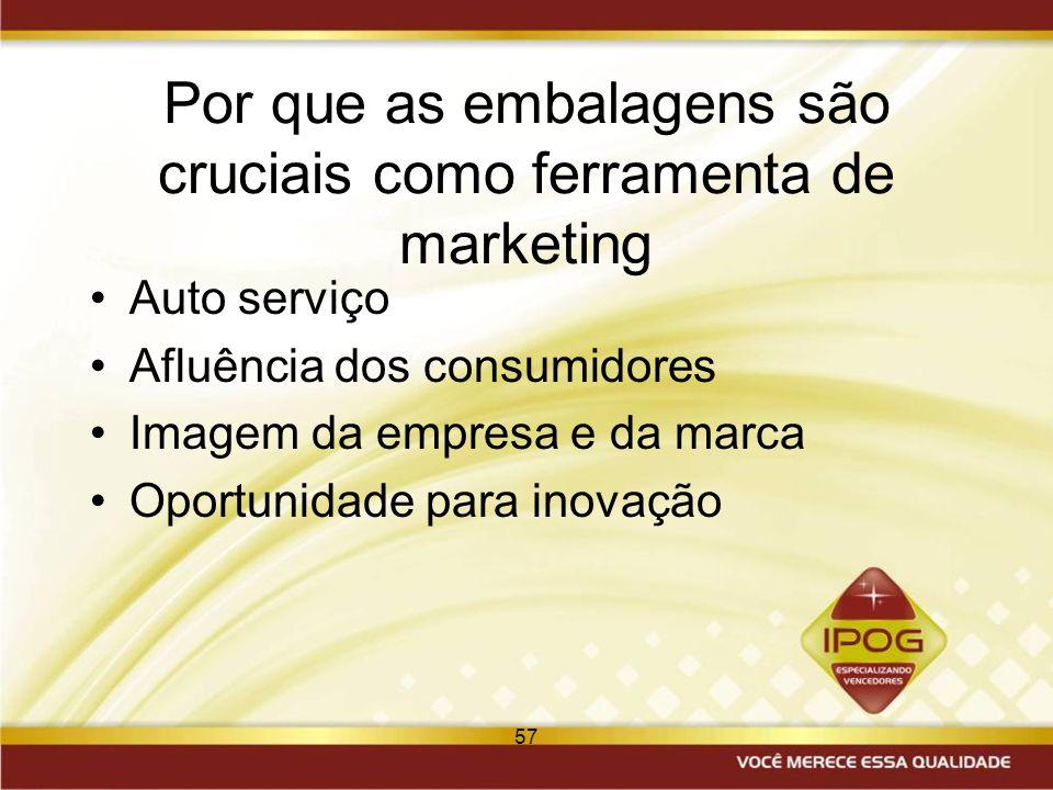57 Por que as embalagens são cruciais como ferramenta de marketing Auto serviço Afluência dos consumidores Imagem da empresa e da marca Oportunidade p