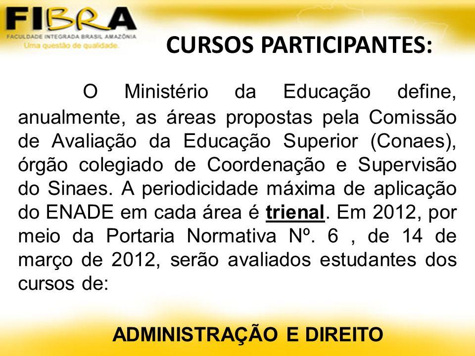 CURSOS PARTICIPANTES: O Ministério da Educação define, anualmente, as áreas propostas pela Comissão de Avaliação da Educação Superior (Conaes), órgão colegiado de Coordenação e Supervisão do Sinaes.