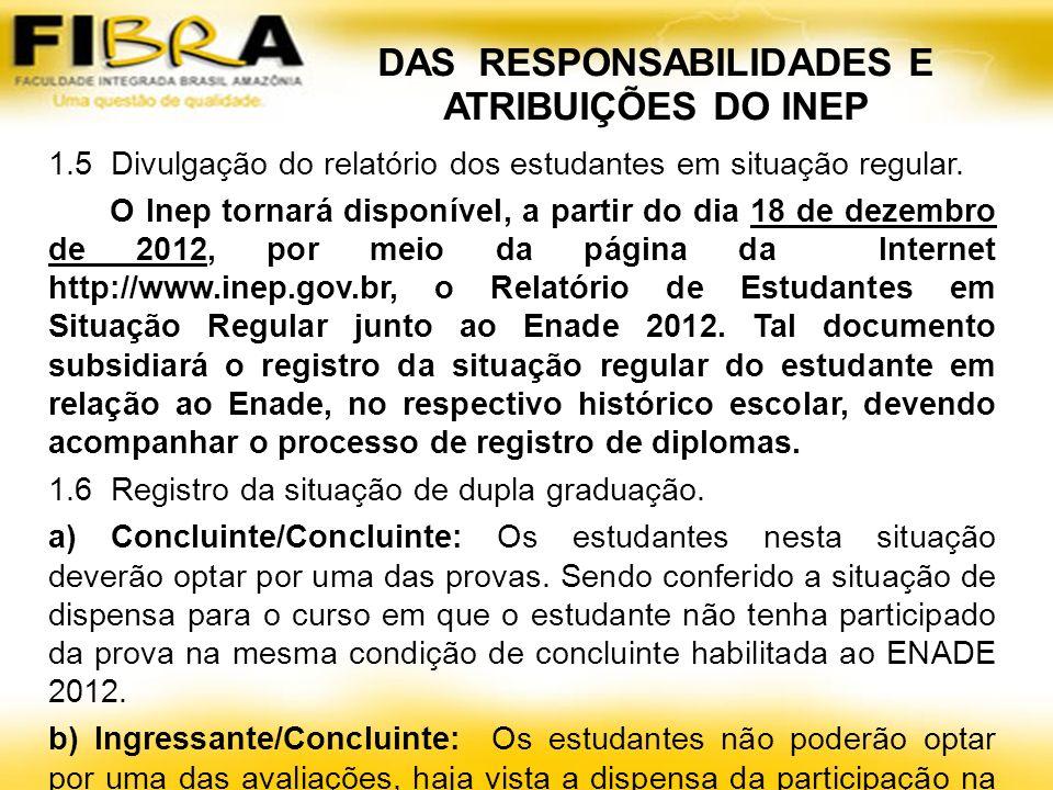 DAS RESPONSABILIDADES E ATRIBUIÇÕES DO INEP 1.5 Divulgação do relatório dos estudantes em situação regular.
