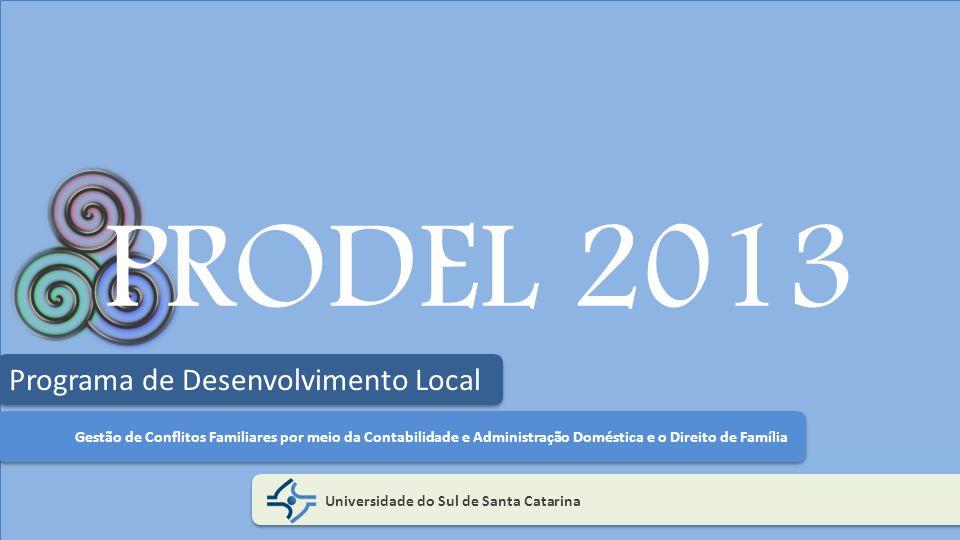 PRODEL 2013 Universidade do Sul de Santa Catarina Programa de Desenvolvimento Local Gestão de Conflitos Familiares por meio da Contabilidade e Adminis