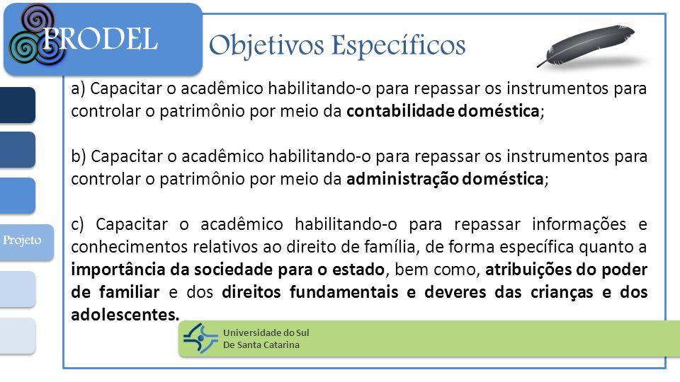 Objetivos Específicos a) Capacitar o acadêmico habilitando-o para repassar os instrumentos para controlar o patrimônio por meio da contabilidade domés