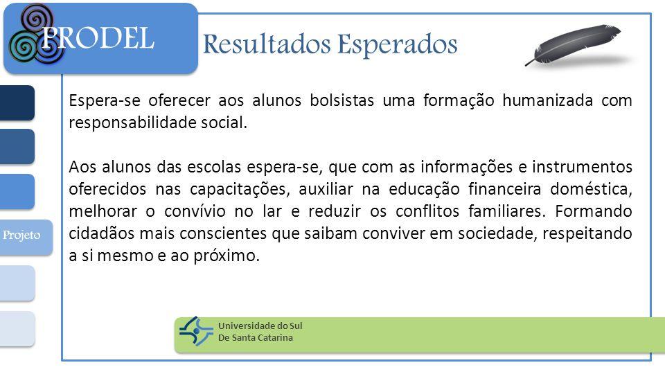 Resultados Esperados Espera-se oferecer aos alunos bolsistas uma formação humanizada com responsabilidade social. Aos alunos das escolas espera-se, qu