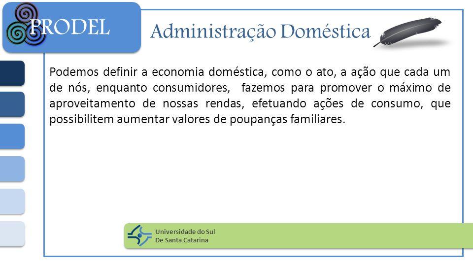 Administração Doméstica Podemos definir a economia doméstica, como o ato, a ação que cada um de nós, enquanto consumidores, fazemos para promover o má