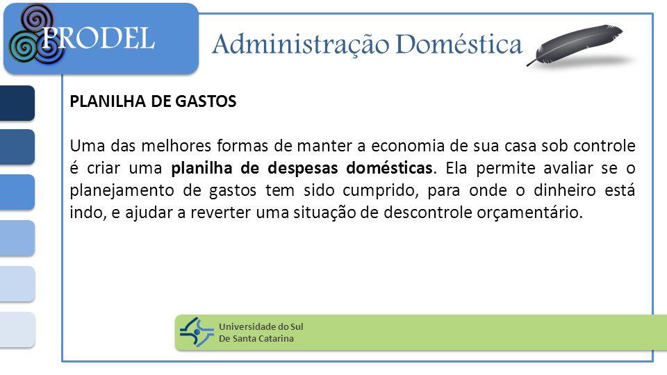 Administração Doméstica PLANILHA DE GASTOS Uma das melhores formas de manter a economia de sua casa sob controle é criar uma planilha de despesas domé