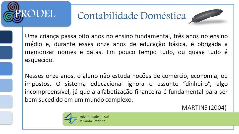 Contabilidade Doméstica Uma criança passa oito anos no ensino fundamental, três anos no ensino médio e, durante esses onze anos de educação básica, é
