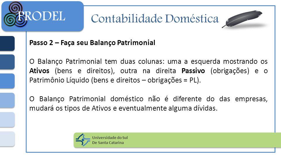 Contabilidade Doméstica Passo 2 – Faça seu Balanço Patrimonial O Balanço Patrimonial tem duas colunas: uma a esquerda mostrando os Ativos (bens e dire