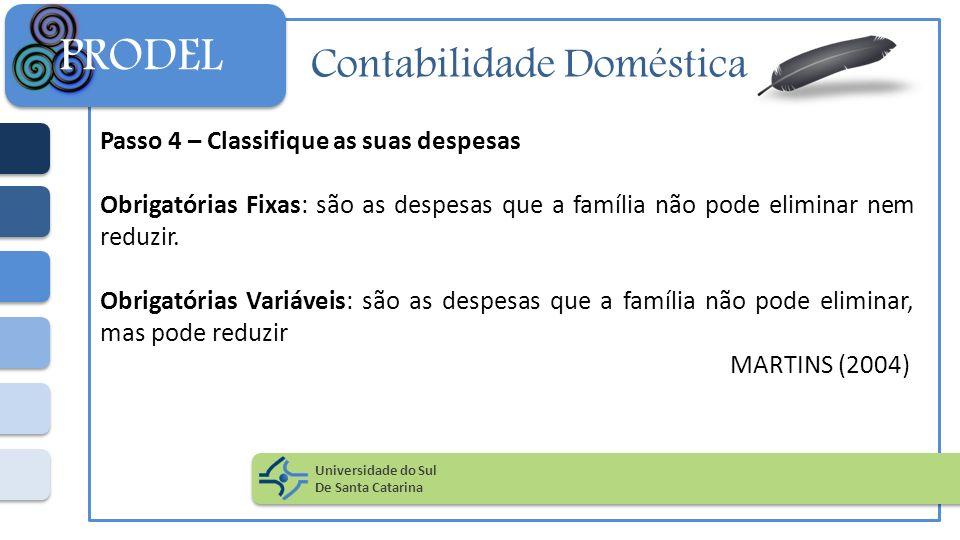 Contabilidade Doméstica Passo 4 – Classifique as suas despesas Obrigatórias Fixas: são as despesas que a família não pode eliminar nem reduzir. Obriga