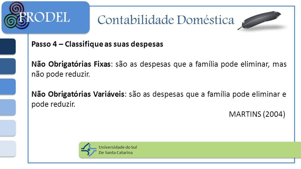 Contabilidade Doméstica Passo 4 – Classifique as suas despesas Não Obrigatórias Fixas: são as despesas que a família pode eliminar, mas não pode reduz