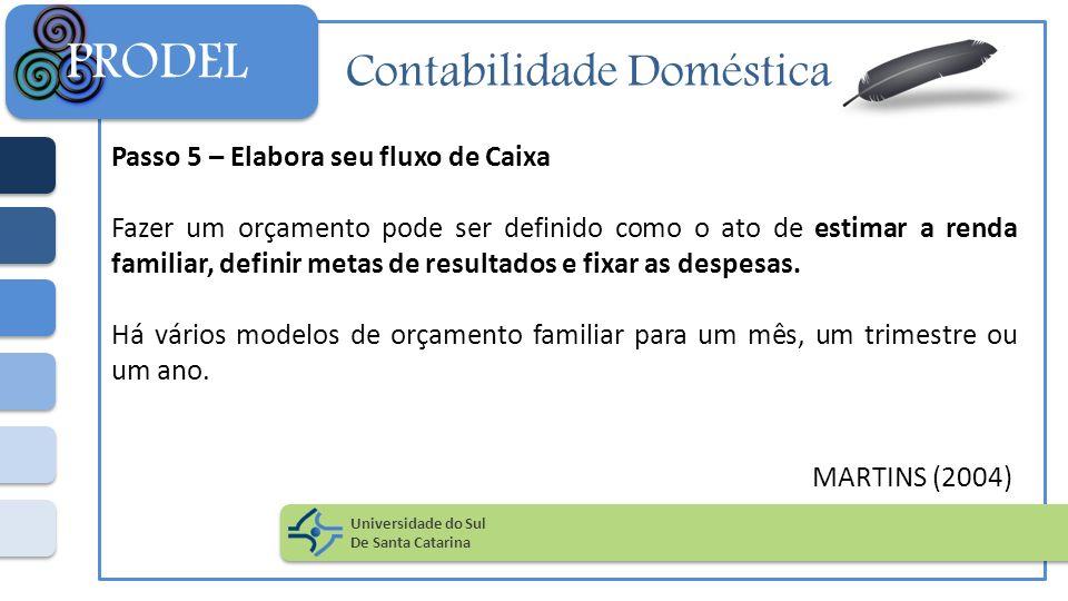 Contabilidade Doméstica Passo 5 – Elabora seu fluxo de Caixa Fazer um orçamento pode ser definido como o ato de estimar a renda familiar, definir meta