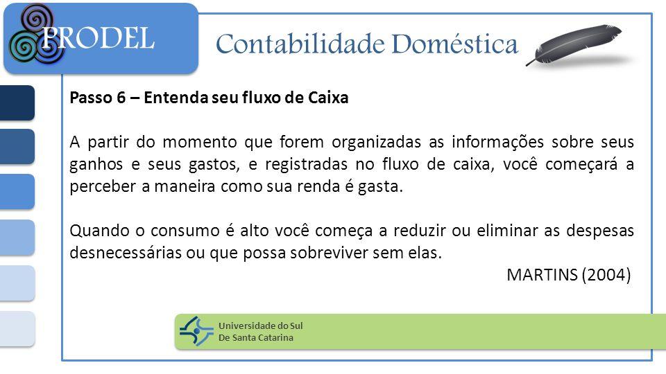 Contabilidade Doméstica Passo 6 – Entenda seu fluxo de Caixa A partir do momento que forem organizadas as informações sobre seus ganhos e seus gastos,