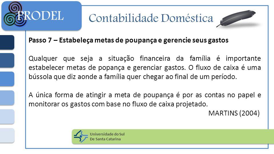 Contabilidade Doméstica Passo 7 – Estabeleça metas de poupança e gerencie seus gastos Qualquer que seja a situação financeira da família é importante