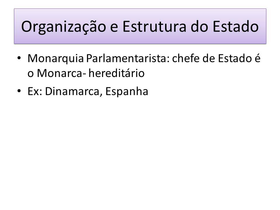 Organização e Estrutura do Estado Monarquia Parlamentarista: chefe de Estado é o Monarca- hereditário Ex: Dinamarca, Espanha