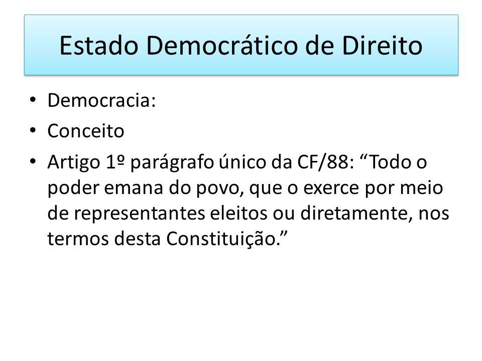Estado Democrático de Direito Democracia: Conceito Artigo 1º parágrafo único da CF/88: Todo o poder emana do povo, que o exerce por meio de representantes eleitos ou diretamente, nos termos desta Constituição.