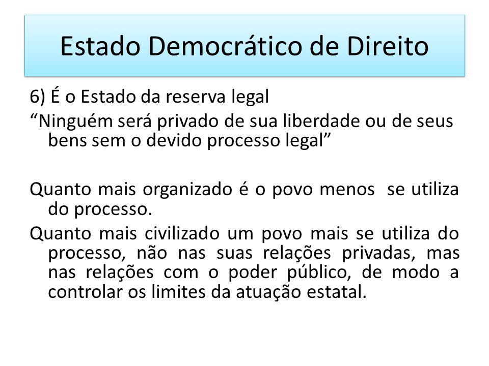 Estado Democrático de Direito 6) É o Estado da reserva legal Ninguém será privado de sua liberdade ou de seus bens sem o devido processo legal Quanto mais organizado é o povo menos se utiliza do processo.