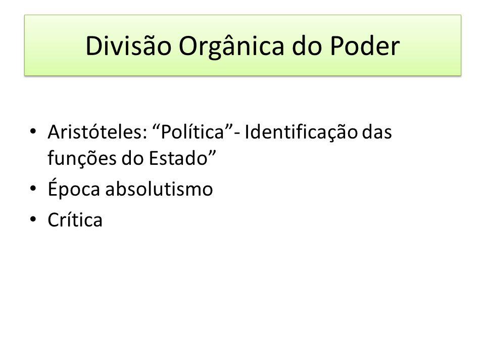 Divisão Orgânica do Poder Aristóteles: Política- Identificação das funções do Estado Época absolutismo Crítica