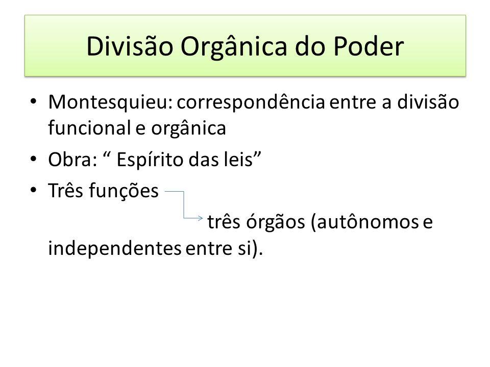 Divisão Orgânica do Poder Montesquieu: correspondência entre a divisão funcional e orgânica Obra: Espírito das leis Três funções três órgãos (autônomos e independentes entre si).