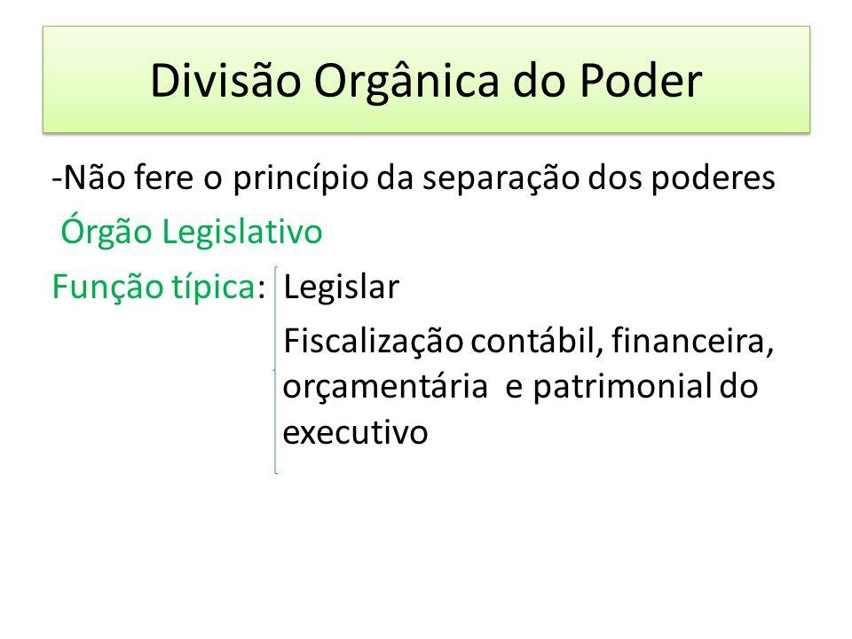 Divisão Orgânica do Poder -Não fere o princípio da separação dos poderes Órgão Legislativo Função típica: Legislar Fiscalização contábil, financeira, orçamentária e patrimonial do executivo