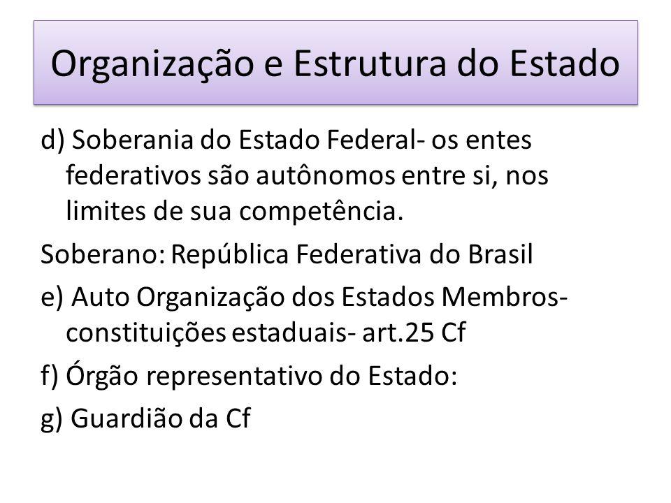 Organização e Estrutura do Estado d) Soberania do Estado Federal- os entes federativos são autônomos entre si, nos limites de sua competência.