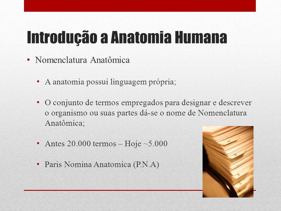 Nomenclatura Anatômica A anatomia possui linguagem própria; O conjunto de termos empregados para designar e descrever o organismo ou suas partes dá-se o nome de Nomenclatura Anatômica; Antes 20.000 termos – Hoje ~5.000 Paris Nomina Anatomica (P.N.A)