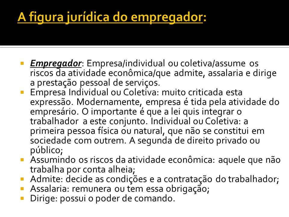 Empregador: Empresa/individual ou coletiva/assume os riscos da atividade econômica/que admite, assalaria e dirige a prestação pessoal de serviços. Emp