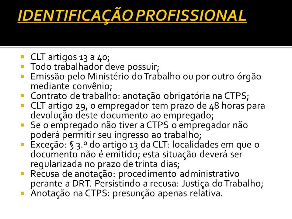 CLT artigos 13 a 40; Todo trabalhador deve possuir; Emissão pelo Ministério do Trabalho ou por outro órgão mediante convênio; Contrato de trabalho: an