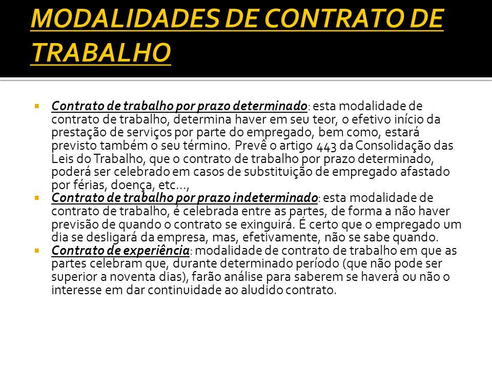 Contrato de trabalho por prazo determinado: esta modalidade de contrato de trabalho, determina haver em seu teor, o efetivo início da prestação de ser