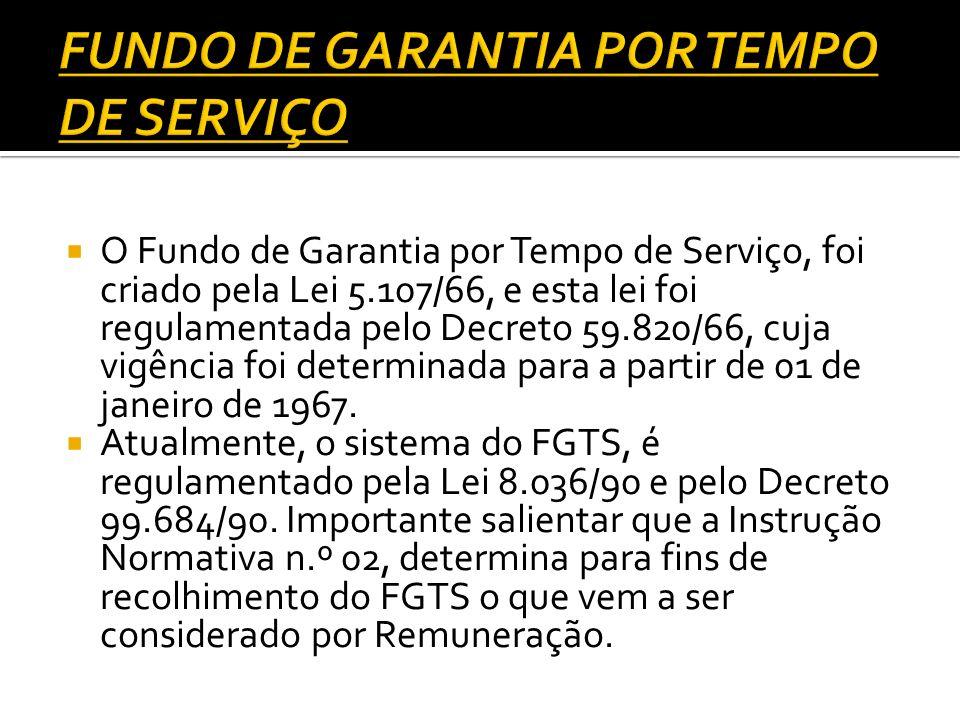 O Fundo de Garantia por Tempo de Serviço, foi criado pela Lei 5.107/66, e esta lei foi regulamentada pelo Decreto 59.820/66, cuja vigência foi determi