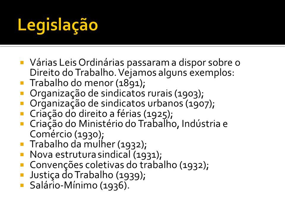 Em 01 de maio de 1943, deu-se a promulgação da CLT (Consolidação das Leis do Trabalho), fato ocorrido no transcorrer do governo de Getúlio Vargas.