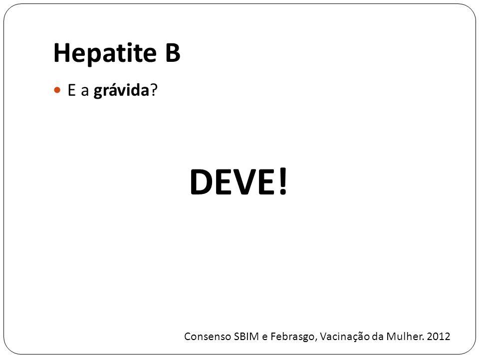 Hepatite B E a grávida? DEVE! Consenso SBIM e Febrasgo, Vacinação da Mulher. 2012