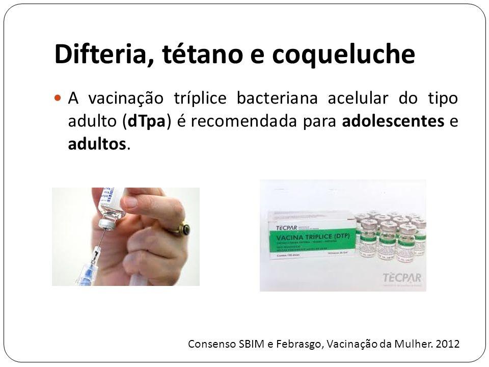 Difteria, tétano e coqueluche A vacinação tríplice bacteriana acelular do tipo adulto (dTpa) é recomendada para adolescentes e adultos.