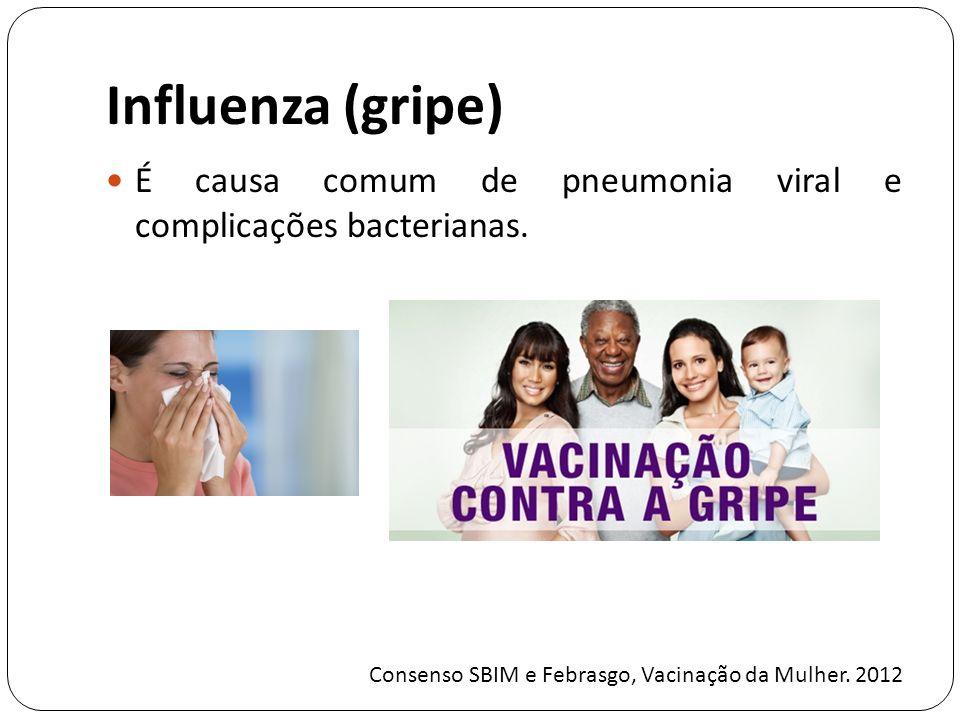 Influenza (gripe) É causa comum de pneumonia viral e complicações bacterianas.