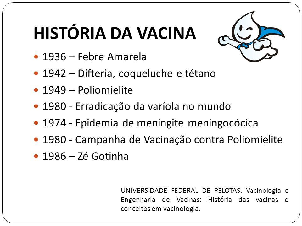 HISTÓRIA DA VACINA 1936 – Febre Amarela 1942 – Difteria, coqueluche e tétano 1949 – Poliomielite 1980 - Erradicação da varíola no mundo 1974 - Epidemia de meningite meningocócica 1980 - Campanha de Vacinação contra Poliomielite 1986 – Zé Gotinha UNIVERSIDADE FEDERAL DE PELOTAS.