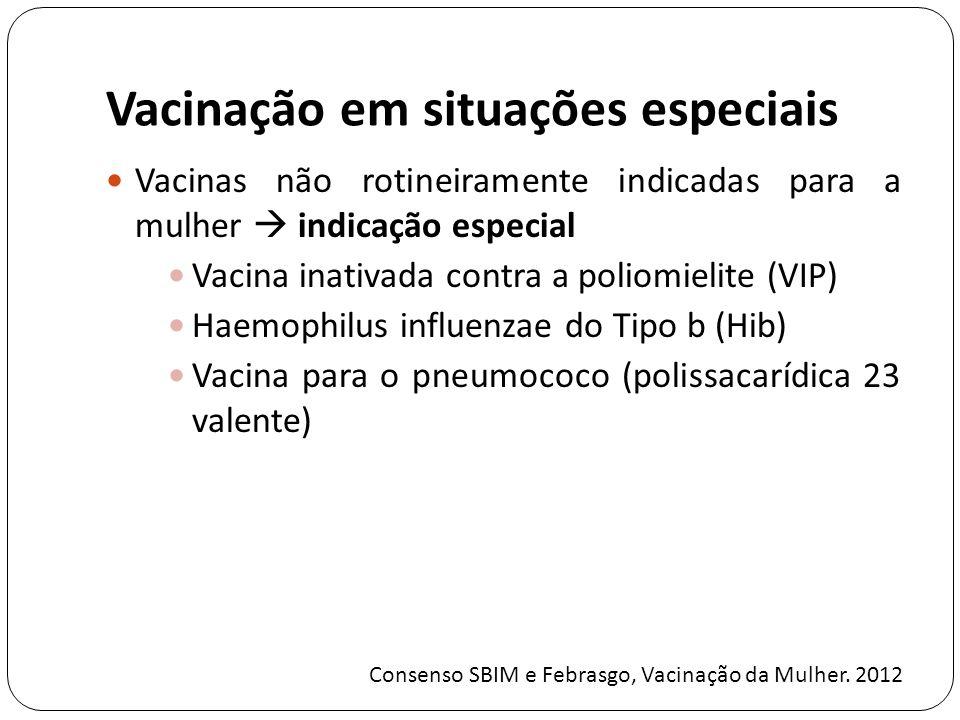 Vacinação em situações especiais Vacinas não rotineiramente indicadas para a mulher indicação especial Vacina inativada contra a poliomielite (VIP) Haemophilus influenzae do Tipo b (Hib) Vacina para o pneumococo (polissacarídica 23 valente) Consenso SBIM e Febrasgo, Vacinação da Mulher.