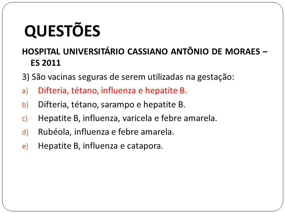 QUESTÕES HOSPITAL UNIVERSITÁRIO CASSIANO ANTÔNIO DE MORAES – ES 2011 3) São vacinas seguras de serem utilizadas na gestação: a) Difteria, tétano, influenza e hepatite B.