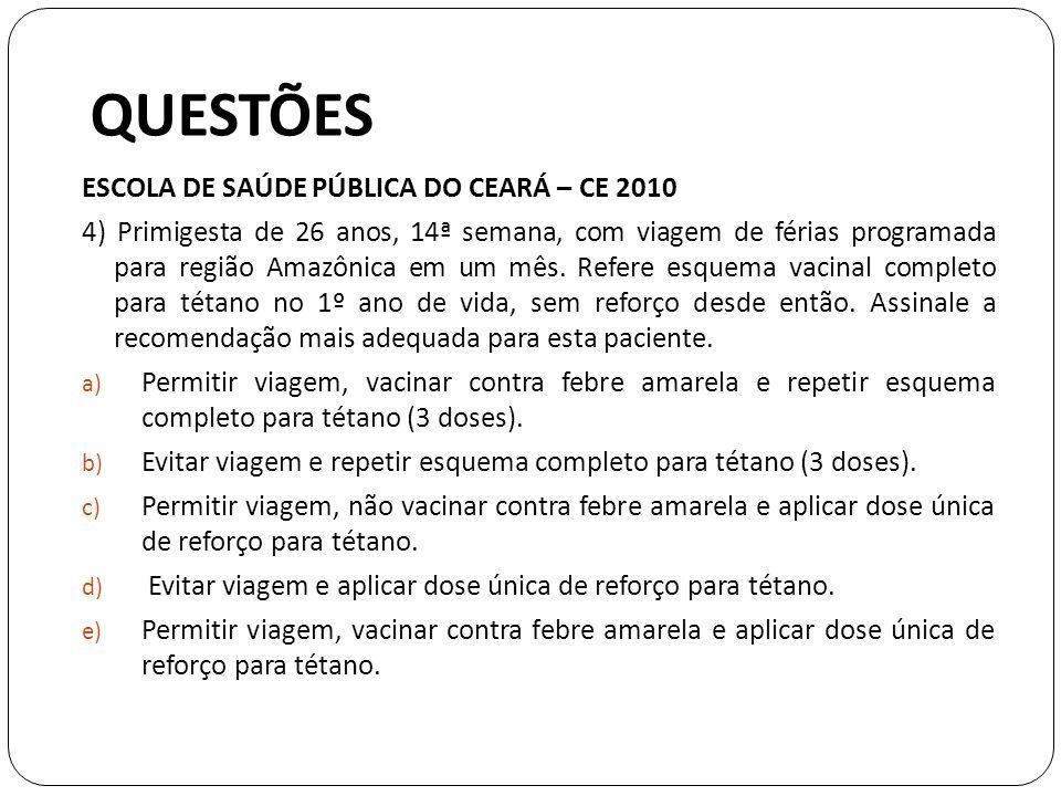 QUESTÕES ESCOLA DE SAÚDE PÚBLICA DO CEARÁ – CE 2010 4) Primigesta de 26 anos, 14ª semana, com viagem de férias programada para região Amazônica em um mês.
