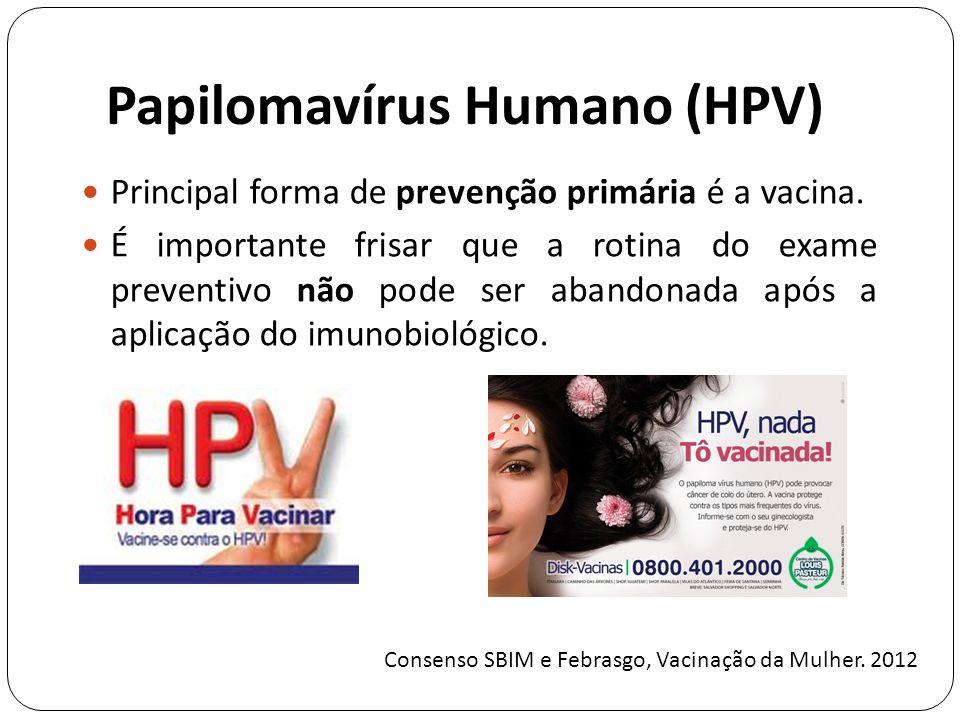 Papilomavírus Humano (HPV) Principal forma de prevenção primária é a vacina.