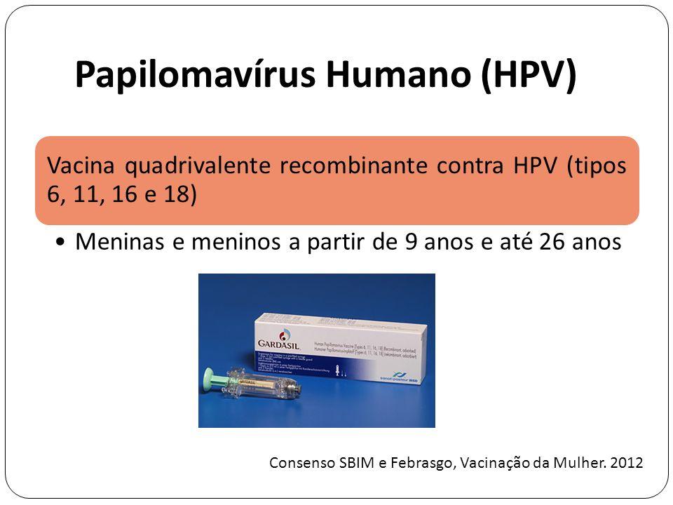 Papilomavírus Humano (HPV) Vacina quadrivalente recombinante contra HPV (tipos 6, 11, 16 e 18) Meninas e meninos a partir de 9 anos e até 26 anos Consenso SBIM e Febrasgo, Vacinação da Mulher.