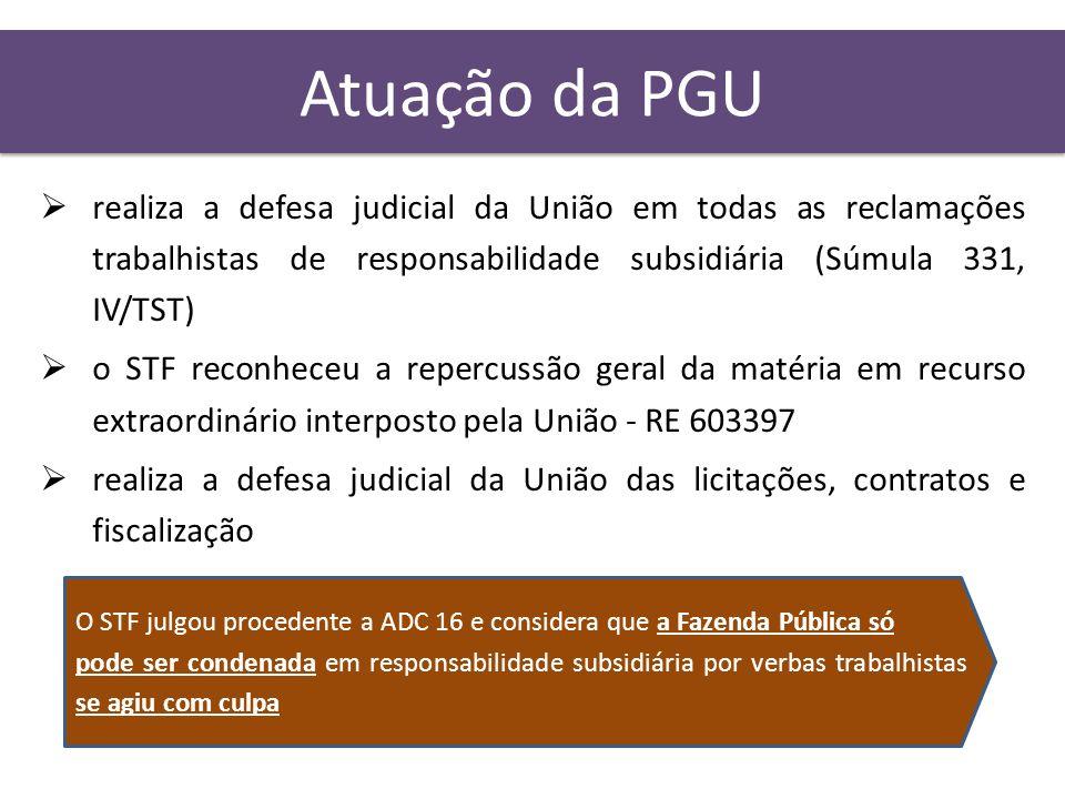 Atuação da PGU realiza a defesa judicial da União em todas as reclamações trabalhistas de responsabilidade subsidiária (Súmula 331, IV/TST) o STF reco