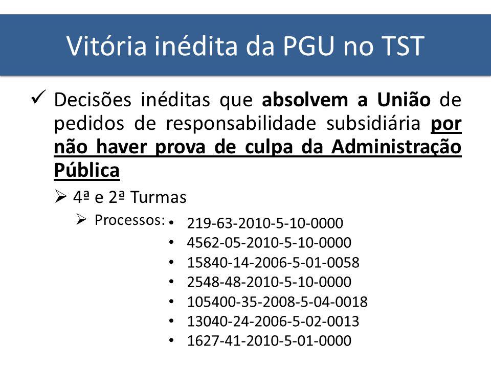 Vitória inédita da PGU no TST Decisões inéditas que absolvem a União de pedidos de responsabilidade subsidiária por não haver prova de culpa da Admini