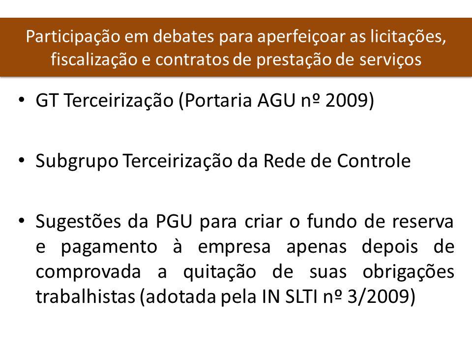 Participação em debates para aperfeiçoar as licitações, fiscalização e contratos de prestação de serviços GT Terceirização (Portaria AGU nº 2009) Subg