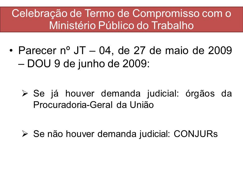 Celebração de Termo de Compromisso com o Ministério Público do Trabalho Parecer nº JT – 04, de 27 de maio de 2009 – DOU 9 de junho de 2009: Se já houv