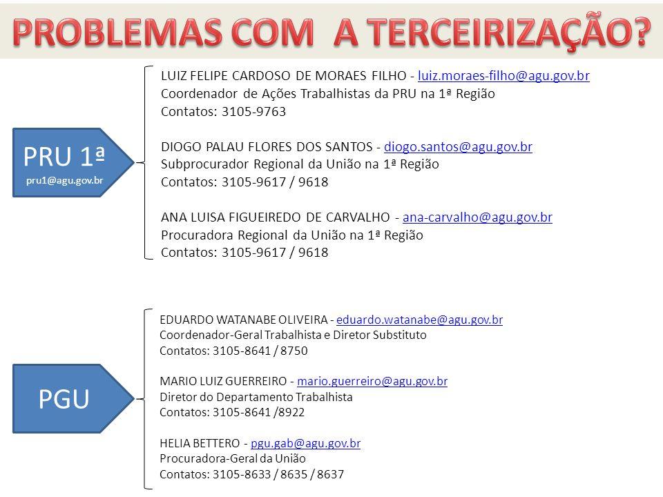 A quem recorrer LUIZ FELIPE CARDOSO DE MORAES FILHO - luiz.moraes-filho@agu.gov.brluiz.moraes-filho@agu.gov.br Coordenador de Ações Trabalhistas da PR