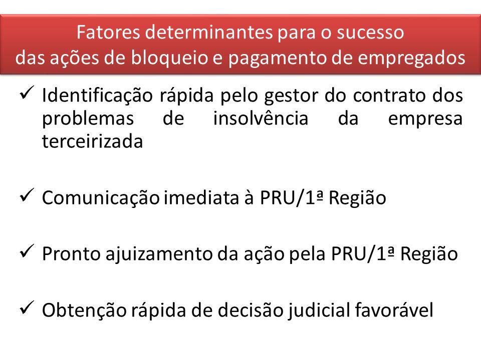 Fatores determinantes para o sucesso das ações de bloqueio e pagamento de empregados Identificação rápida pelo gestor do contrato dos problemas de ins