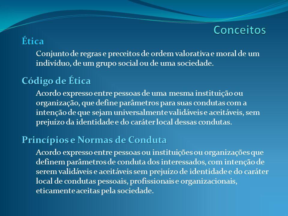 Ética Conjunto de regras e preceitos de ordem valorativa e moral de um indivíduo, de um grupo social ou de uma sociedade. Código de Ética Acordo expre